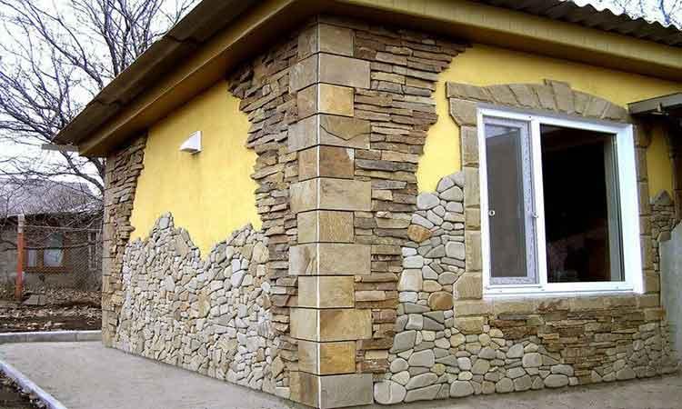 отделка фасада камнем 14